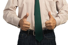 Businessman giving both thumbs up Royalty Free Stock Photography