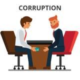 Businessman giving bribe money.. Businessman giving bribe money. Corruption, bribery. venality, kickback. Corrupted bureaucracy. Flat vector illustration Stock Photo