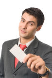 Businessman giving business-card. Isolated on white Royalty Free Stock Image