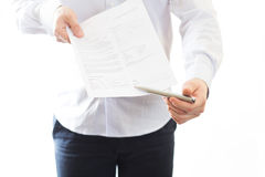 Businessman giving contract Stock Photo