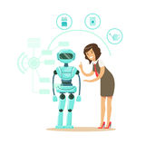 Businessman giving directions to humanoid robot housewife, future technology concept vector Illustration Stock Photography