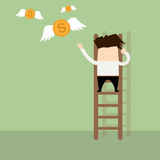 Businessman giving gold coins wings by climbing stairs. Stock Photography