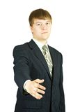 Businessman giving hand Stock Photo
