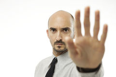 Businessman giving hand stop sign Stock Image