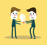 Businessman giving ideas bulb to his partner. business partnership concept. Stock Photo