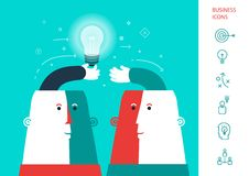 Businessman giving ideas bulb to his partner. Business partnership concept. vector. Eps 10 Stock Photos