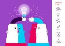 Businessman giving ideas bulb to his partner. Business partnership concept. vector. Eps 10 Royalty Free Stock Photography