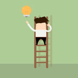 Businessman giving lamp idea by climbing stairs. Royalty Free Stock Images