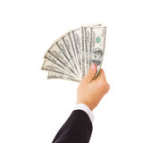 Businessman giving money cash dollars in hands Stock Photography