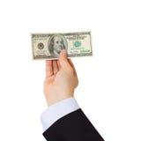 Businessman giving money cash dollars in hands Stock Photos
