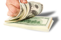 Businessman giving money cash dollars in hands Royalty Free Stock Photo