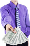 Businessman giving money Royalty Free Stock Photos