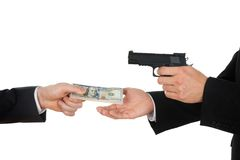 Businessman giving money to the businessperson with gun Royalty Free Stock Image