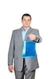 Businessman giving a present Stock Photo