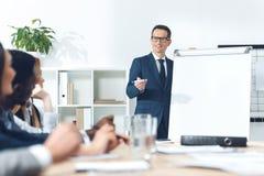 businessman giving presentation stock image