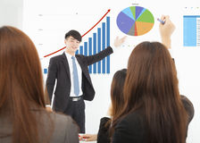 Businessman giving a presentation about marketing sales Stock Image