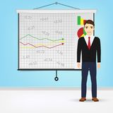 Businessman giving presentation with projector screen white board. Presentation concept Vector illustration. Stock Images