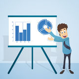 Businessman giving presentation by statistical graphs. Illustration of a young Businessman presenting his ideas and thoughts by statistical graphs on the board Royalty Free Stock Photos