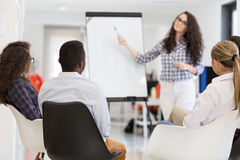 Businessman giving a presentation to his colleagues at work. Standing in front of a flipchart with notes and diagrams stock photo
