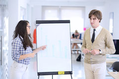 Businessman giving a presentation to his colleagues at work standing in front of a flipchart Royalty Free Stock Images