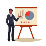 Businessman giving presentation using a board. African American Businessman giving presentation with a board, sketch style vector illustration . Black Confident Stock Photography