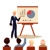 Businessman giving presentation using a board. Businessman giving presentation with a board, sketch style vector illustration  on white background. Confident Stock Photography