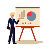 Businessman giving presentation using a board. Businessman giving presentation with a board, sketch style vector illustration  on white background. Confident Stock Image