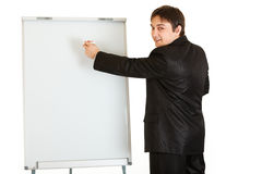 Businessman Giving Presentation Using Flipchart Stock Images