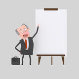 Businessman giving a presentation at white board Stock Photos