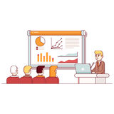 Businessman giving a speech showing sales. Statistics graph on presentation screen in the conference room. Modern flat style thin line vector illustration stock illustration