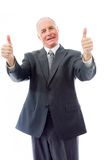 Businessman giving thumbs up sign with both hands Royalty Free Stock Image