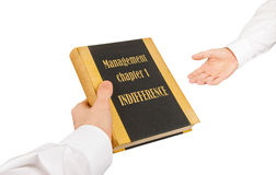 Businessman giving an used book to another businessman Royalty Free Stock Images