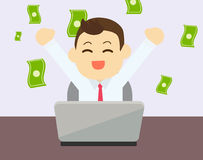 Businessman glad to earning money from online. Business with laptop on table.Vector and illustration Stock Photo