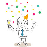 Businessman with glass of champagne, confetti rain Royalty Free Stock Photography