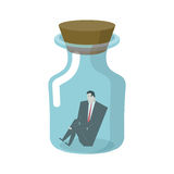 Businessman in glass jar. Boss in bottle. Desperate situations. Stock Image