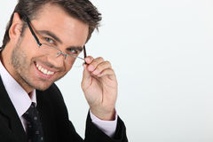 Businessman in glasses Stock Images
