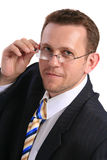 Businessman with glasses. Over white stock photo