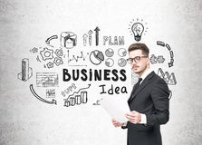 Businessman in glasses and business idea Royalty Free Stock Images