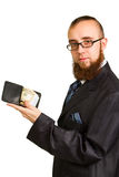 Businessman in glasses holding dollars Royalty Free Stock Photo