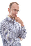 Businessman with glasses looking at camera considering  isolated Royalty Free Stock Image