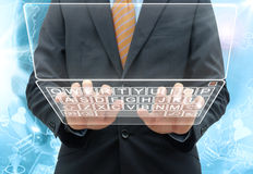 Businessman glasss computer Royalty Free Stock Image