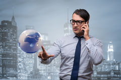 The businessman in global business concept Stock Photos