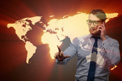 The businessman in global business concept Stock Images