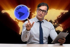 The businessman in global business concept Royalty Free Stock Images