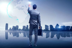 The businessman in global business concept Royalty Free Stock Photos