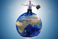 The businessman in global business and globalization concept Stock Image