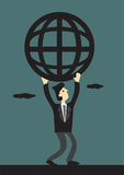 Businessman and Global Network Vector Illustration Stock Image