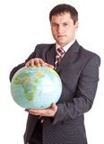 Businessman with globe Royalty Free Stock Photos