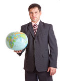 Businessman with globe Royalty Free Stock Image