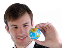 Businessman and globe Stock Photo